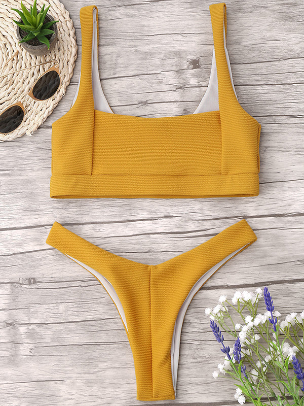 Solid Color Sexy Split Thicken Swimsuit
