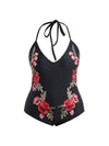 Black Flamingo One Piece Swimsuit