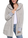 Fluffy Fleece Thick Hooded Sweater Cardigan Coat - BelleChloe