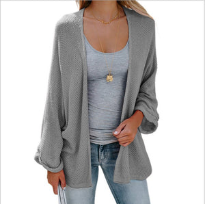 Loose Open Front Kimono Cardigan Long Sleeve Sweater-Cardigans-BelleChloe