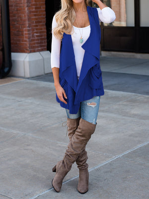 Casual Solid Color Irregular Sleeveless Cardigan Coat - BelleChloe