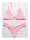 Solid Color Sexy Low Waist Split Bikini - BelleChloe