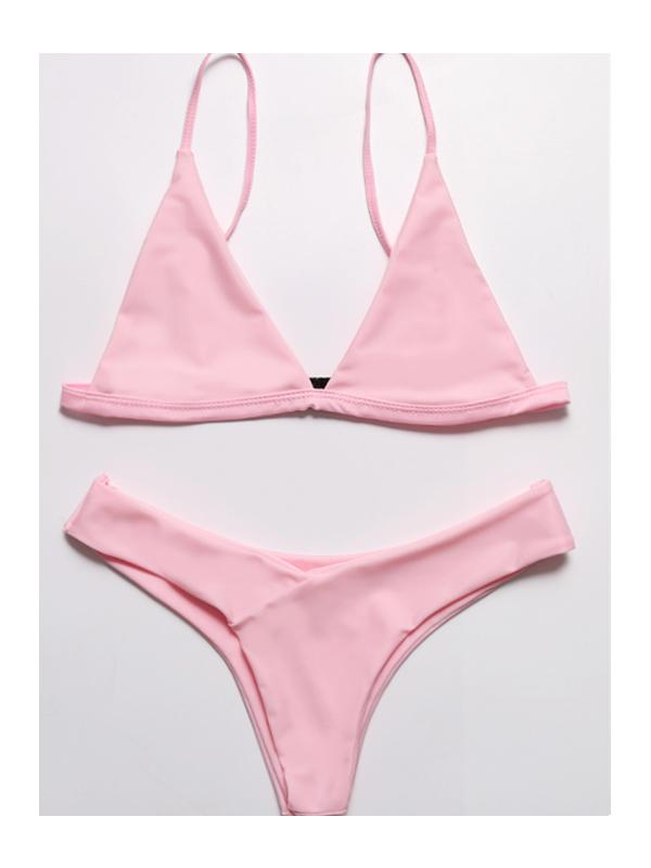 Solid Color Sexy Low Waist Split Bikini