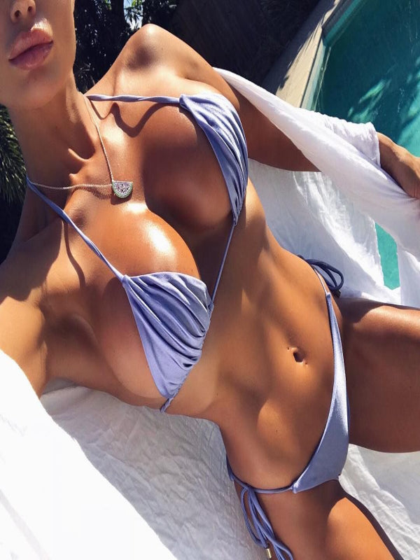 Solid Color Lace Up Adjustable Split Bikini