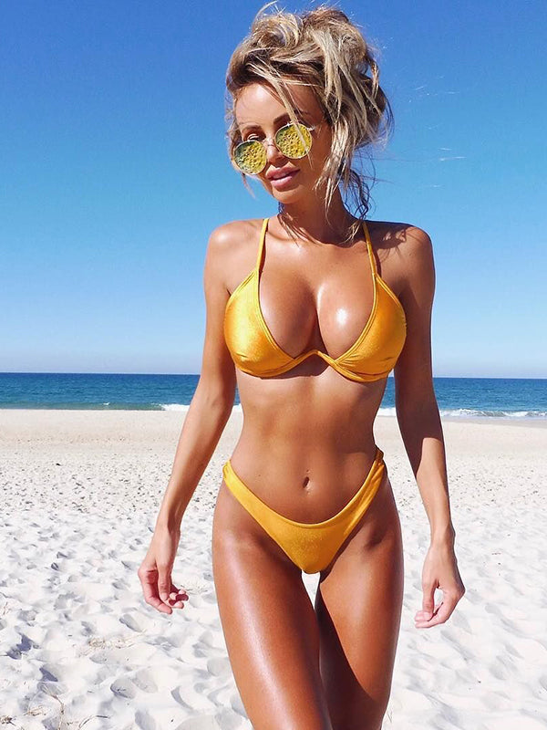 Solid Color Sling Low Waist Sexy Split Bikini - BelleChloe