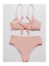 Solid Color Chest Knot Sexy Split Bikini