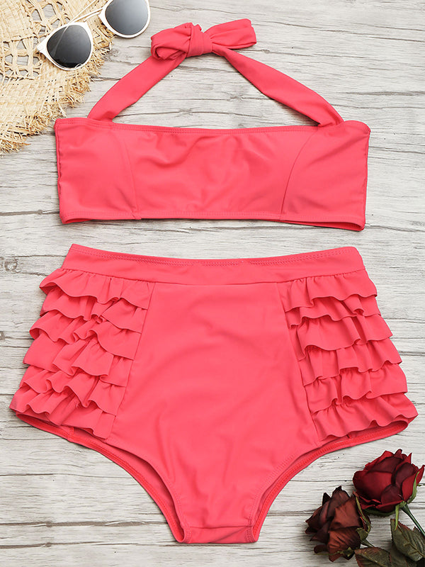 Hanging Neck Lace Up Ruffled Solid Color Swimsuit - BelleChloe