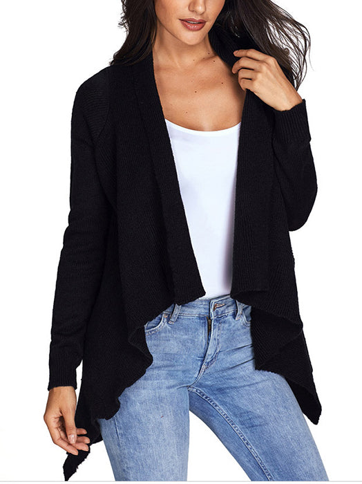 Irregular Solid Color Front Open Long Sleeve Sweater Cardigan - BelleChloe