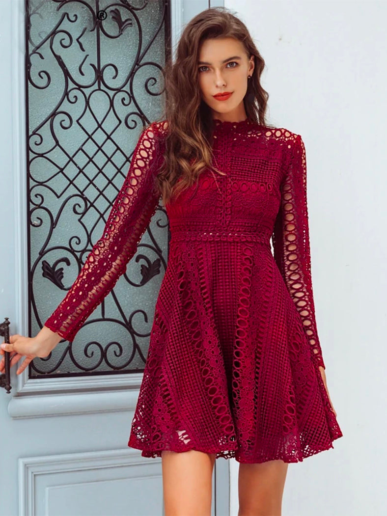 Lace Water Soluble Sexy Long Sleeve Dress-Dresses-BelleChloe