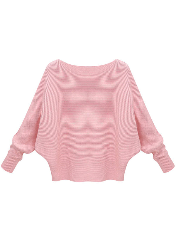 【Big Sale!】Solid Batwing Sleeve Sweater Thickening Casual Knitted Pullovers