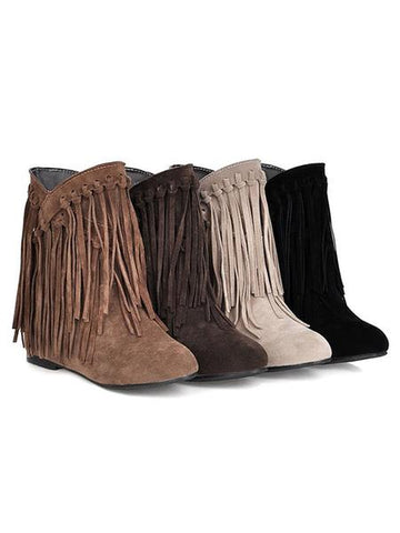 Solid Color Fur Long Tube Thick Heel Fashion Adjustable Tube Boots
