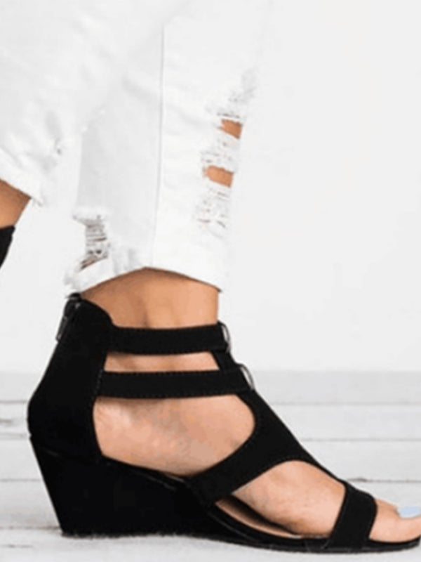 Woman Wedges Sandals With Buckles Hollow Peep Toe - BelleChloe