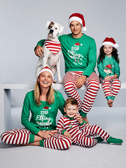 Stop Elfing Around Printed Christmas Family Set-Sweatshirts-BelleChloe