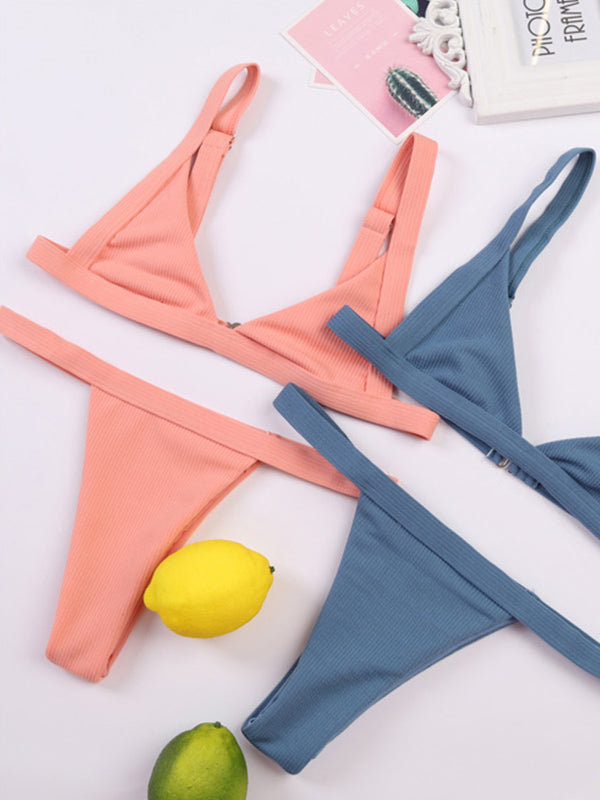 Solid Color Swimsuit G String Set
