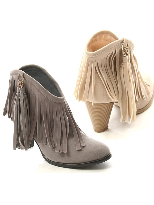 Fashionable Tassel Decor High-Heel Ankle Boots For Women - BelleChloe