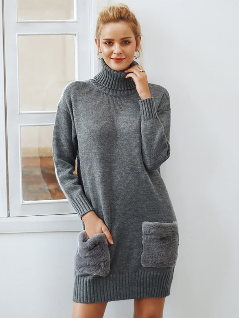 Elegant Turtleneck Knitted Sweater Dress Faux Fur Patchwork Pocket Dress - BelleChloe