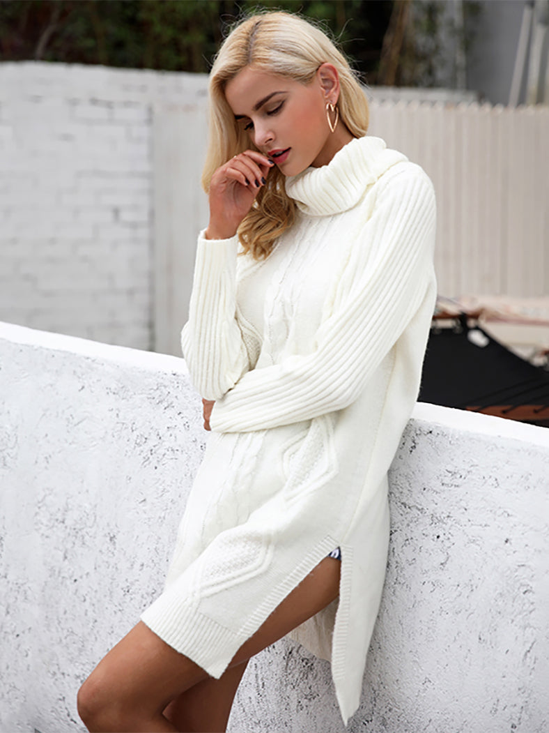 High Split Knitting Long Sleeve Turtleneck Soft Jumper - BelleChloe