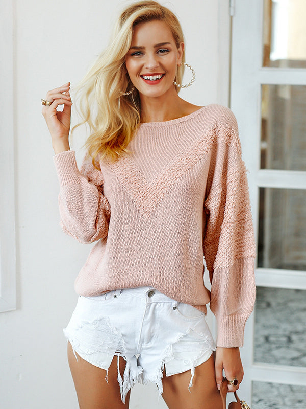 Lantern Sleeve V-Shape Loose Casual Pullover Sweaters