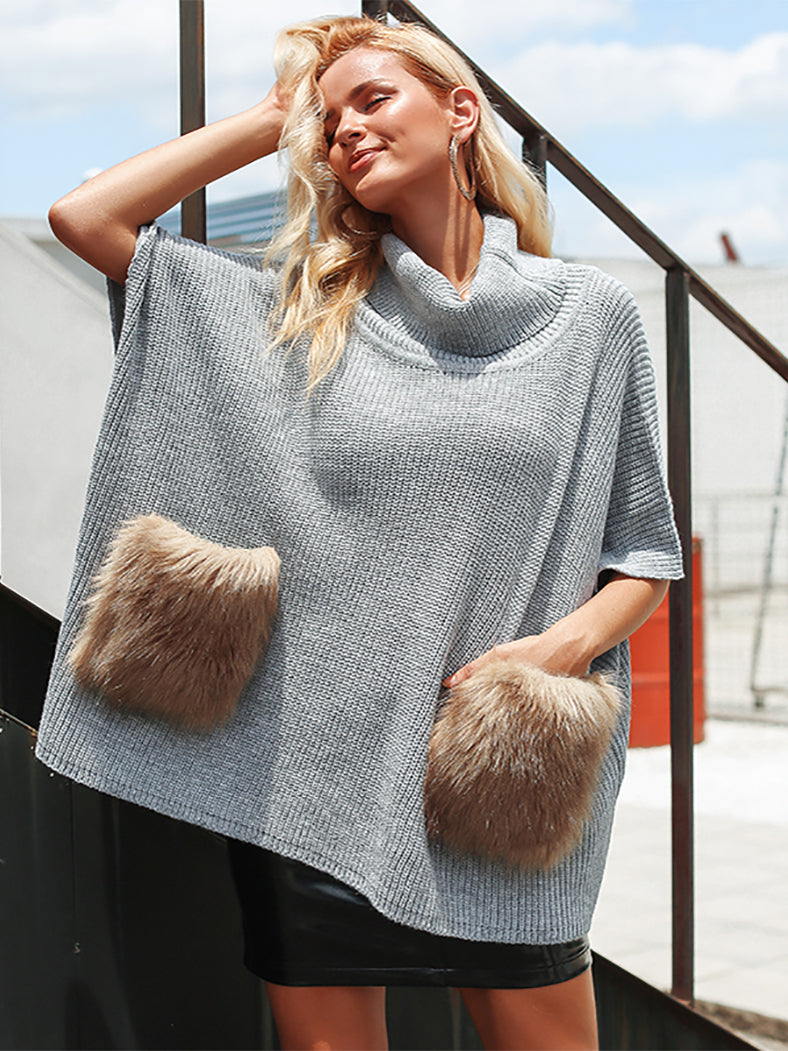 Knitted Turtleneck Casual Faux Fur Pocket Pullover-Sweaters-BelleChloe