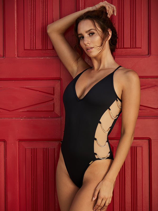 Solid Color Deep V Strap Sexy Swimsuit