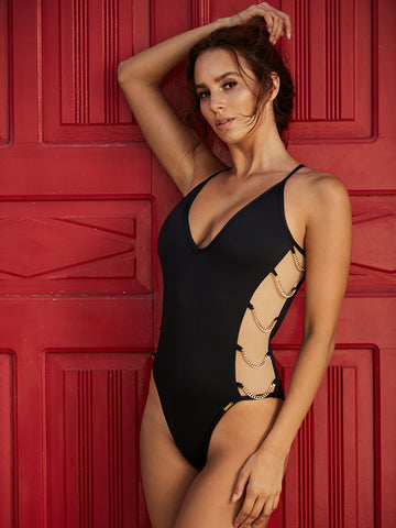 Lace Up Open Back Embroidered One Piece Swimsuit