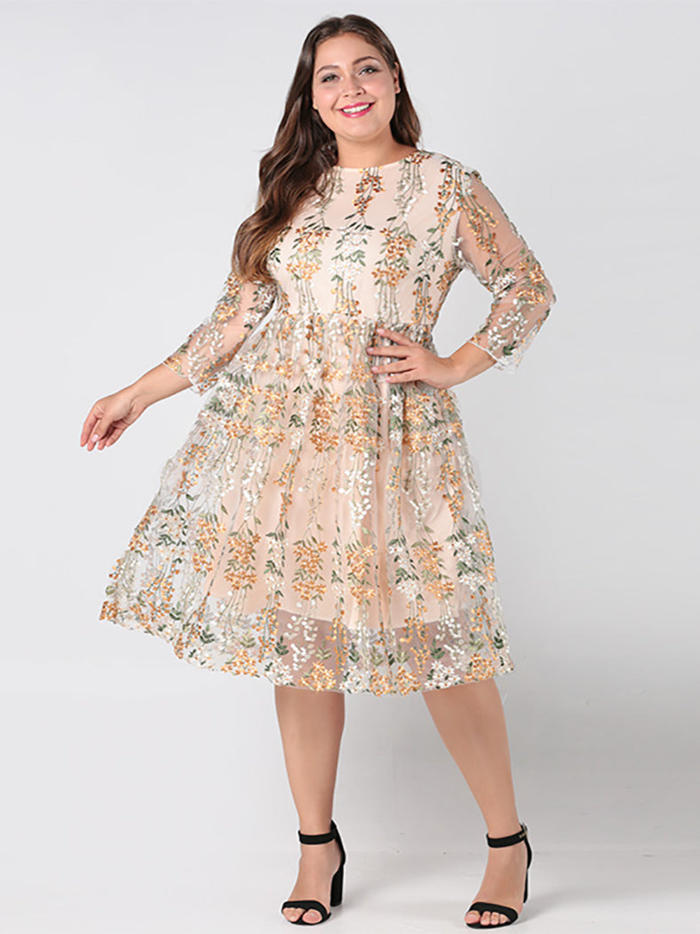 Sexy Long Sleeve Plus Size Party Dress-Dresses-BelleChloe