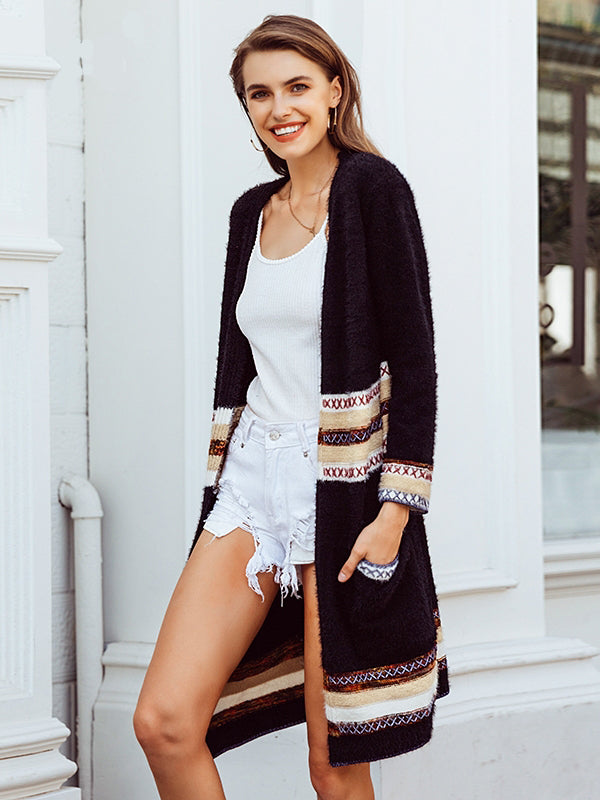 Long Sleeve Print Loose Casual  Fashion Cardigans