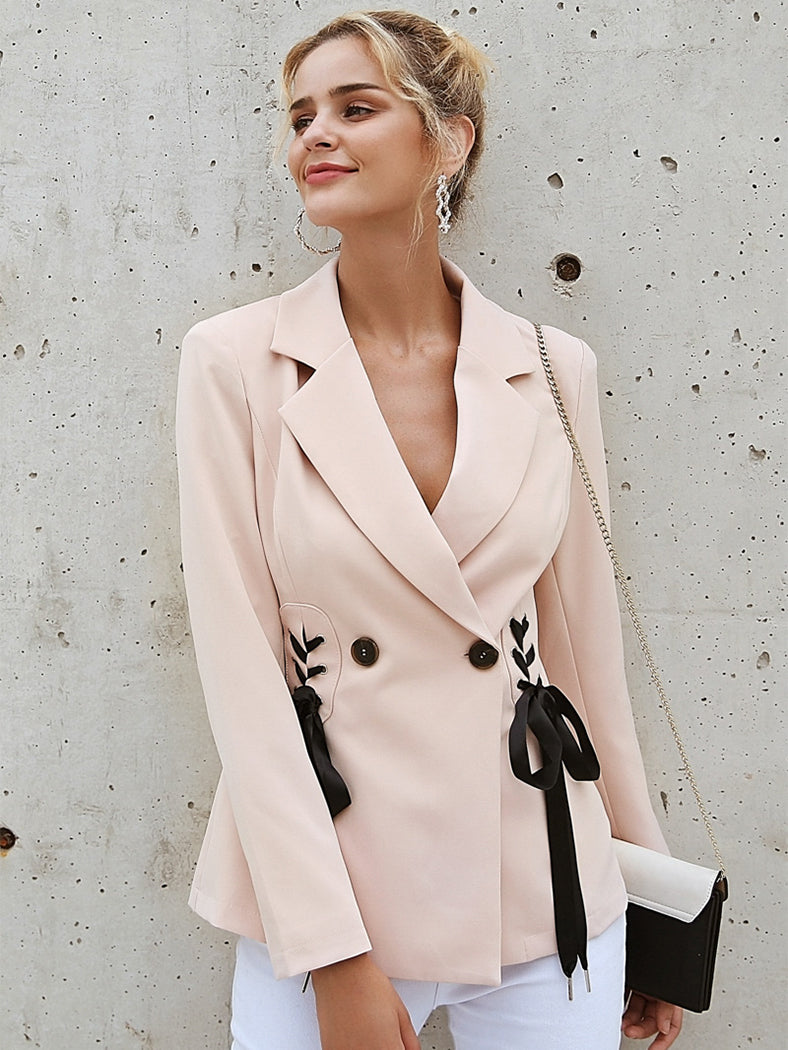Elegant Side Tie Up Cool  V Neck Office Lady Short Coat - BelleChloe