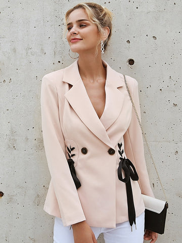 Polka Dot Draped No Buttons Long Sleeve Casual Coat