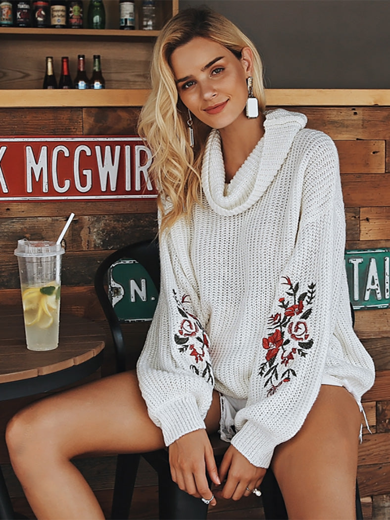 Embroidery Turtleneck Lantern Sleeve Casual Jumper - BelleChloe