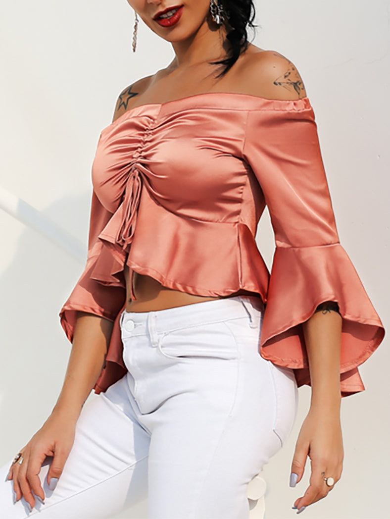 Women Flare Sleeve Party Crop Top-T-shirts-BelleChloe