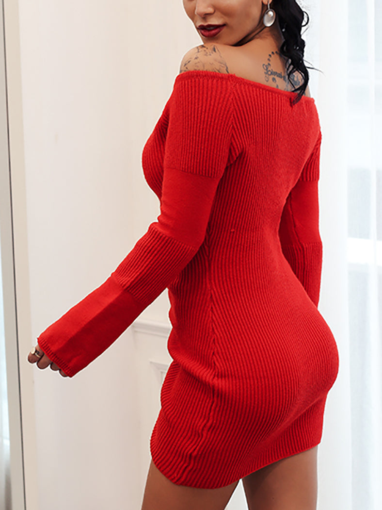 Off Shoulder Knitting Sexy Party Club Winter Backless Sweater Dress-Dresses-BelleChloe