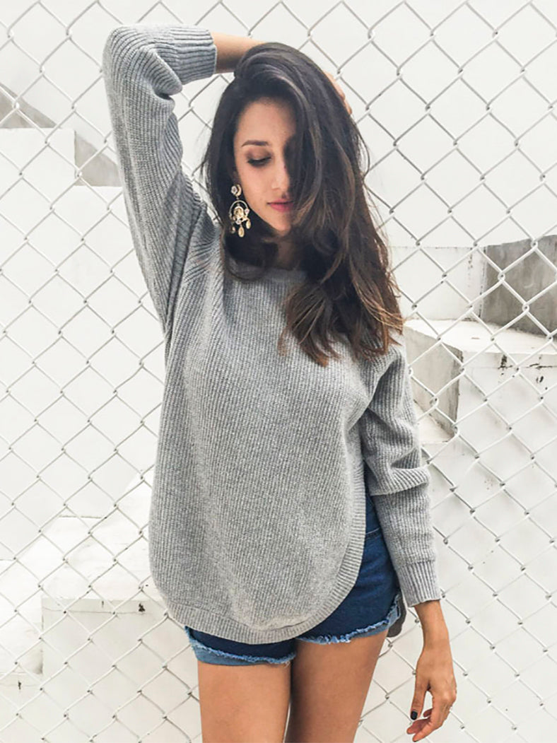 Trendy Side Split Knitting Pullover Soft Sweater Warm Jumper-Sweaters-BelleChloe