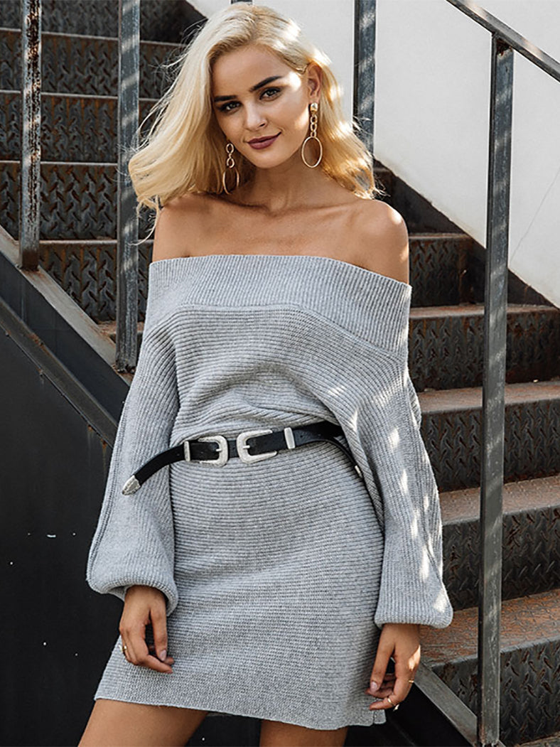 Off Shoulder Long Knitted Sweater Dress-Dresses-BelleChloe