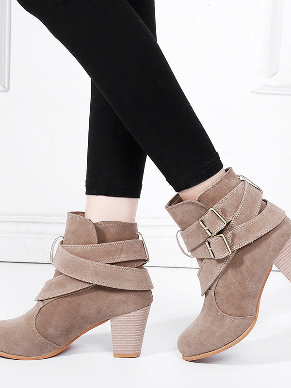 Women's Boot Round Toe Buckle Strap Boot High Heeled Shoes Bootie Fashion Suede Boot Shoes