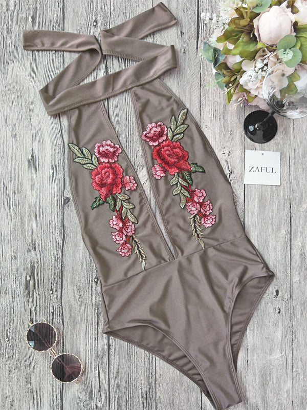 Lace Up Open Back Embroidered One Piece Swimsuit - BelleChloe