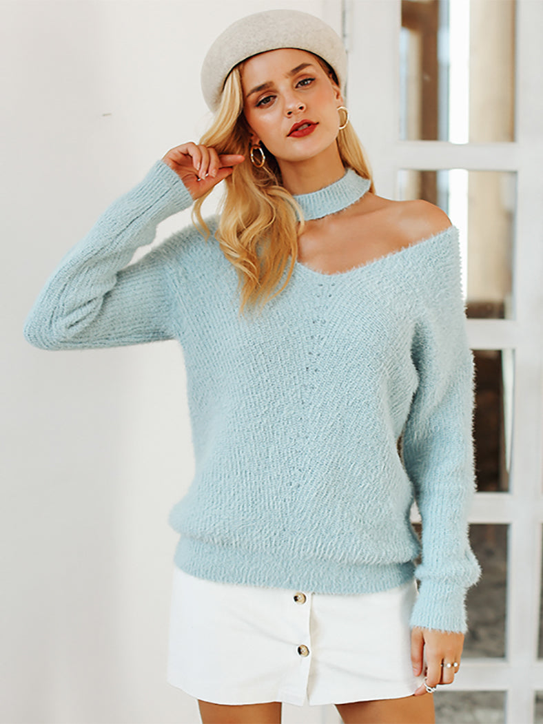 Halter Cold Shoulder Knitted Apricot Pullover Jumpers Sweater - BelleChloe