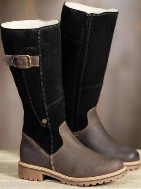Female Warm Long High  Leather Martin Boots - BelleChloe