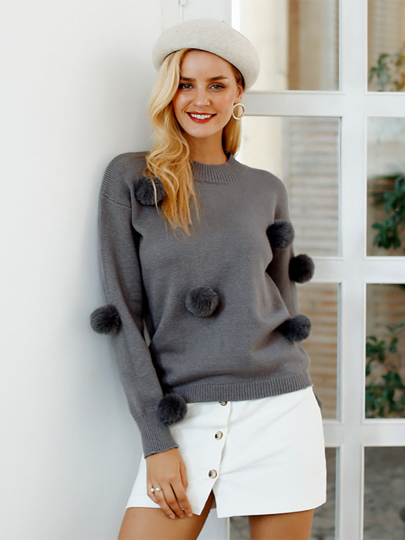 O-Neck Hairball Loose Knitted Sweater-Sweaters-BelleChloe