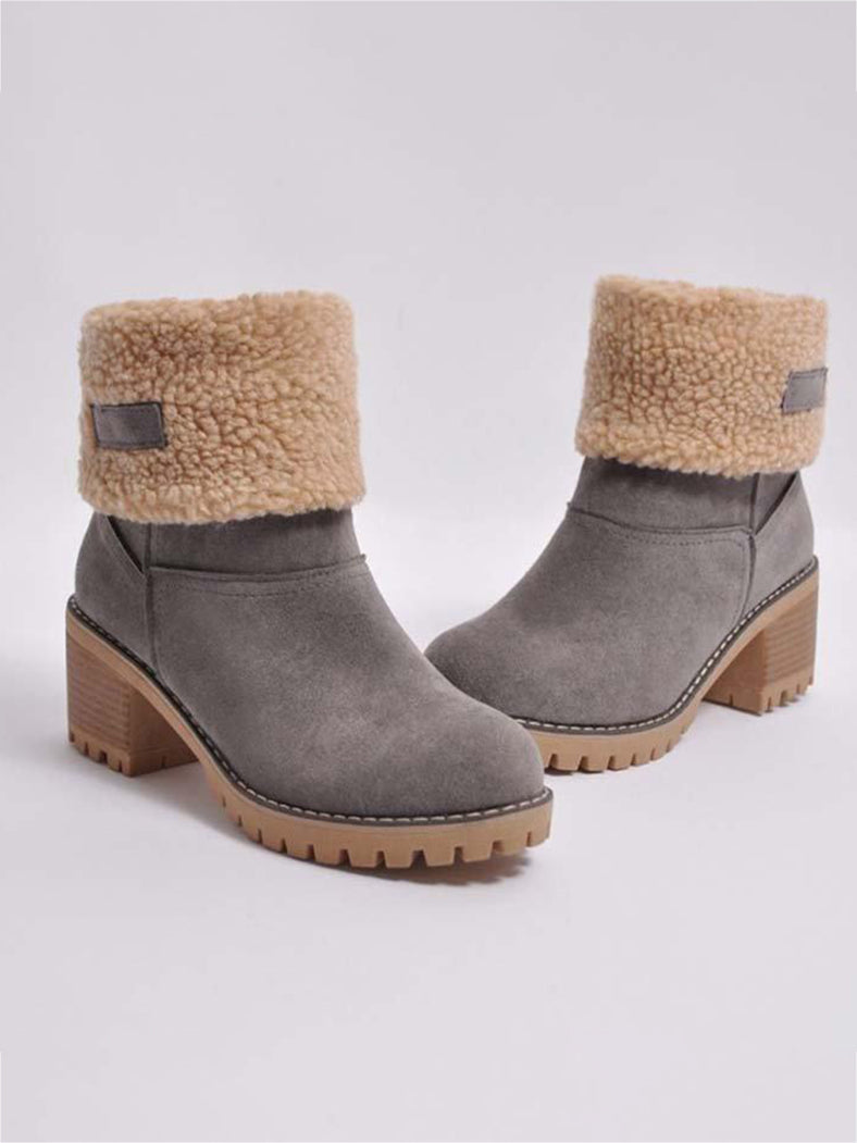 Warm Velvet Chunky Heel Snow Boots - BelleChloe