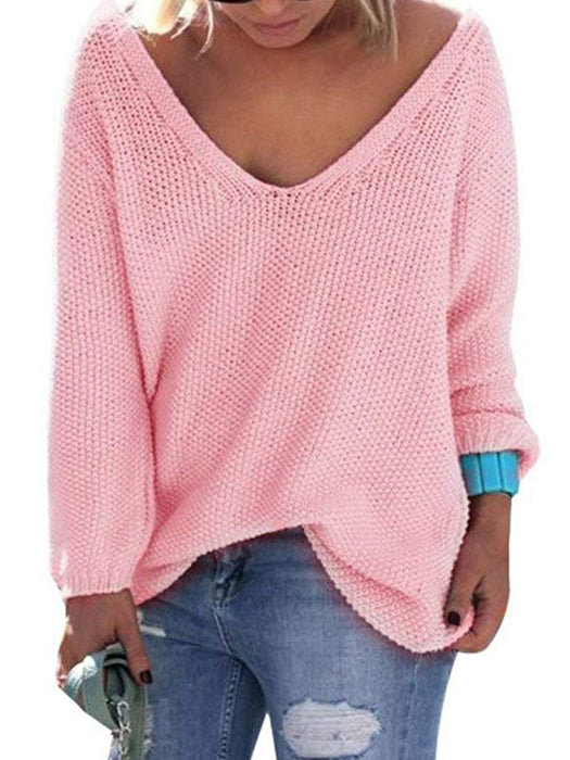 Knit V-Neck Long Sleeves Oversize Loose Sweater-Sweaters-BelleChloe
