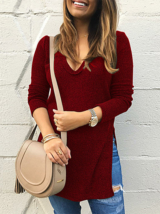 Side Vent V-Neck Basic Thin Sweater T-Shirt-Sweaters-BelleChloe