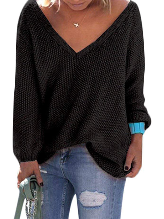 Knit V-Neck Long Sleeves Oversize Loose Sweater - BelleChloe