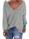 Fashion Lady Casual Jumper V Neck Pullover