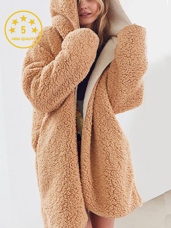 [Quality] Open Front Hooded Fur Coat