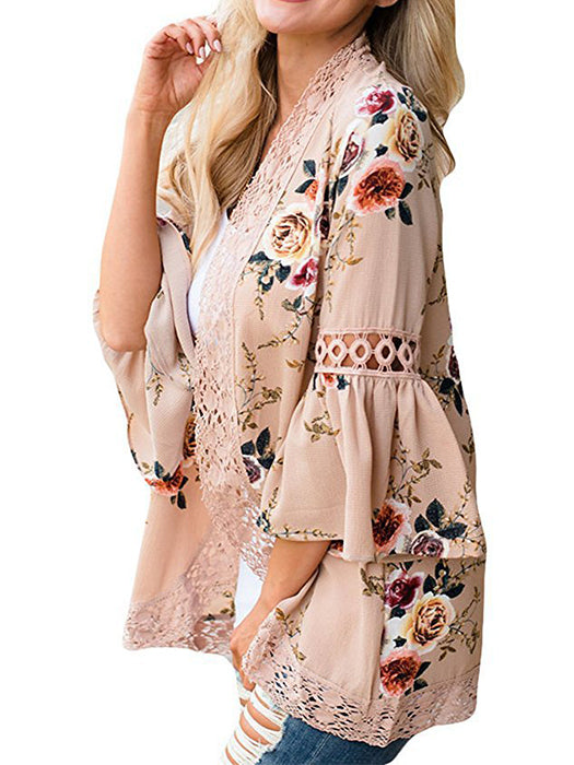 Loose Lace Hollow Floral Open Front Cape Casual Cardigan - BelleChloe