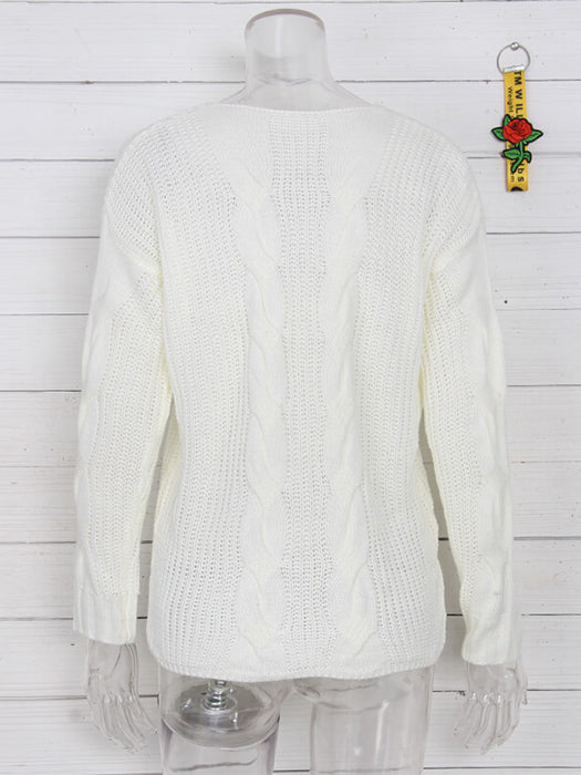 Solid Color V-Neck Twist Knitted Casual Basic Sweater - BelleChloe
