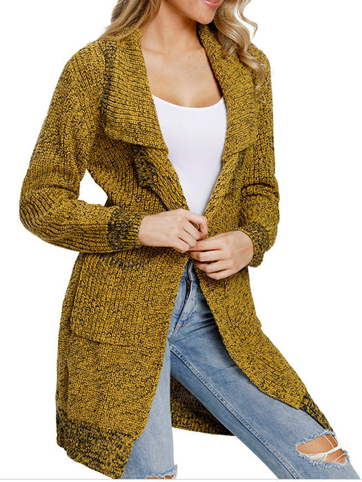 Front Open Long Chunky Pockets Cardigan Sweater - BelleChloe