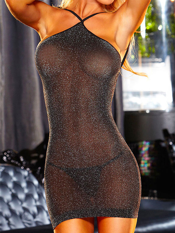 Pure Colour See-Through Backless Sexy Lingerie Set