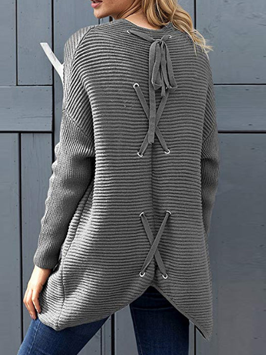 Casual Ribbed Knitted Open Front Cardigans Lace Up Back Sweater - BelleChloe